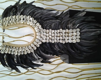 Papua Native Warrior necklace Black feathers and grey shells.
