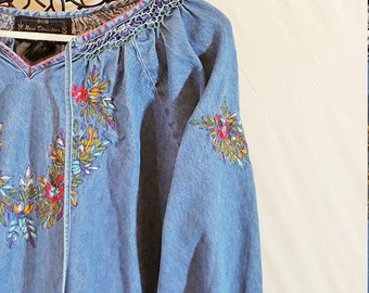 Embroidry Blue Jean Denim Shirt Vintage Size PL IT916