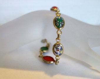 SALE Vintage Venetian Glass Bracelet, Confetti glass Bracelet, NOW 65 WAS 85