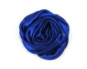 "Royal Blue - Set of 3 Large 3"" Rolled Satin Flowers - RSF-012"