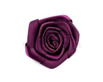 """Eggplant - Set of 5 Satin 1.5"""" Rolled Ribbon Rose Flower - RRR-009"""