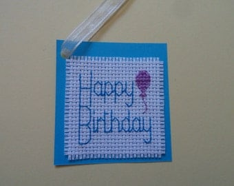 Cross Stitch Gift Tag 'Happy Birthday' Balloon