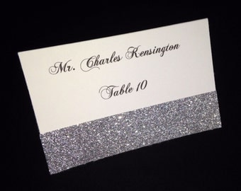 White Matte Printed Folded Placecard with Silver Glitter Accent