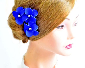 Bridal hair pins set of 3 royal blue hair flowers Bridesmaid hair flowers Hair pins Royal blue flowers Wedding hair accessories