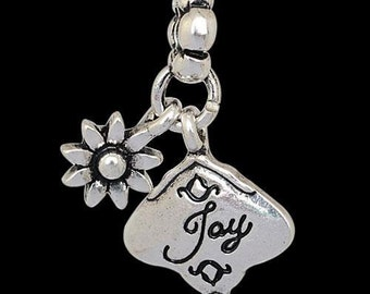 European Dangle, Charm Bead For All Large Hole Charm Bracelet And Necklace Chain. Joy. 15x30mm