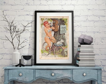 Duane Bryers Hilda On Bicycle, Dictionary Art Print, Prints on Dictionary Paper, Pinup Art, dictionary page, Wall Hanging, Dictionary Print