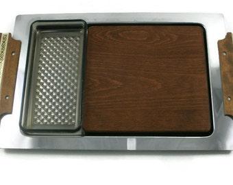 Kromex Mid Century Modern Cheese Tray Teak Wood Block Plastic Dish MCM