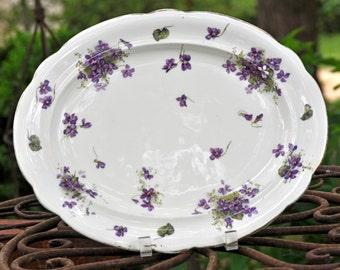 Beautiful Purple Violet platter, Vintage platter, china, Porcelain, Made in England, Stroke on Trent 1912-1939, Nice size, #1838
