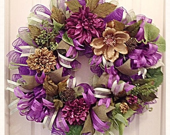 Elegant Purple and Moss Green Floral Deco Mesh Wreath/Everyday Purple Floral Wreath/Purple and Moss Green Floral Wreath