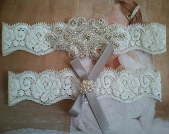 Wedding Garter, Bridal Garter Set - Pearl & Crystal Rhinestone with Silver Bow - Style G2307