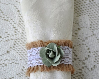 50 Burlap Lace and Mint Green Flower Napkin Rings Wedding Event Bridal Baby Shower Napkin Rings