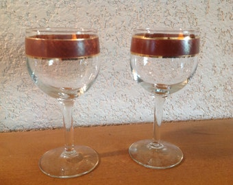 Gold and Brown Wine Glasses. Set of two.