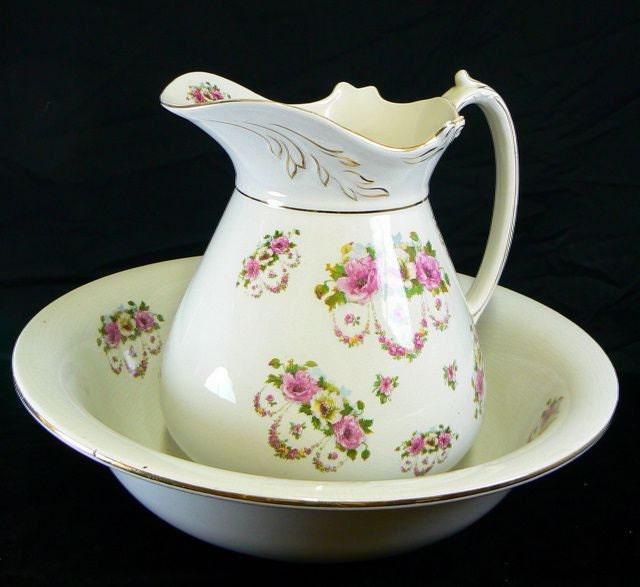 antique ironstone pitcher bowl set large marked kiralpoware. Black Bedroom Furniture Sets. Home Design Ideas