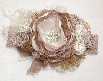 Vintage Masquerade over the top headband, couture headband, over the top bow, baby headband, flower headband, ott headband, vintage headband