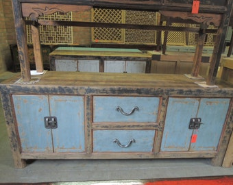Antique Chinese Storage Credenza in Distressed Natural and Light Blue Finish (Los Angeles)