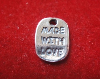 "2 PC. sterling silver ""made with love"" charm, small made with love, tiny made with love"