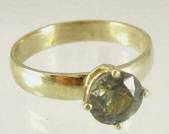 GREEN SAPPHIRE Engagement Ring, Gem, stone ring,14 karat  ring, yellow gold ring,Recycled gold, Wedding Band, Gold