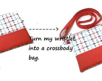 Turn my wristlet into a crossbody bag; add a shoulder strap to my wristlet.