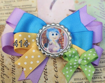 Inside Out Inspired Bottle Cap Hair Bow - Inside Out Hair Bow - Emotions Hair Bow - Fear - Joy Hair Bow - Sadness - Disgust - Anger