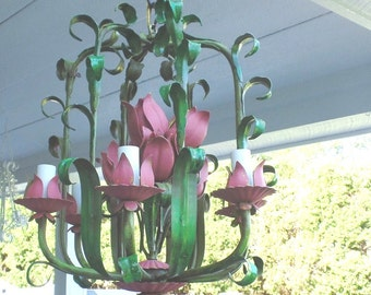 Vintage Italian Tole Chandelier Green with Pink Tulips-Unique