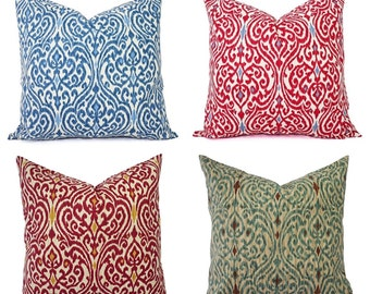 Decorative Pillow Cover - Red Pillow - Blue Pillow - Ikat Pillow Cover - Ikat Decorative Pillow - Pillow Cover 22 x 22 - Pillow Cases