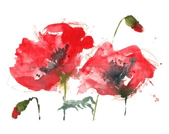 Poppy Splash - Print of watercolor poppy painting