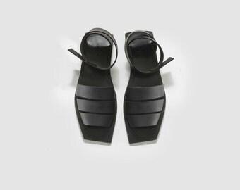 Black woman sandals, Women leather sandals, Black flats, Black summer sandals, Square shape sandals, Black sandals, On sale, UnaUna Israel
