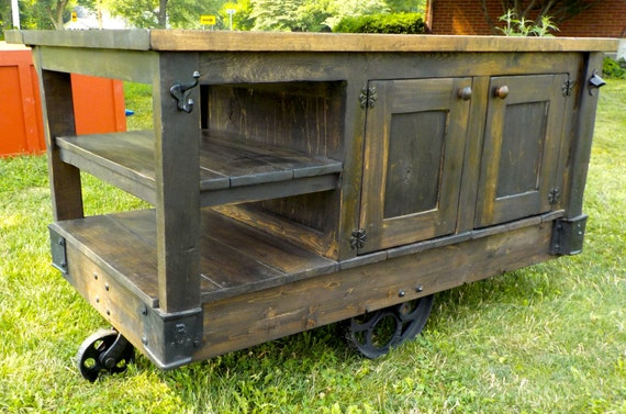 Industrial Steampunk Style Hand Made Factory Cart Kitchen