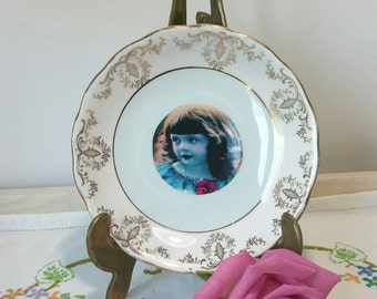 Pretty Royal Vale Decorative Wall Plate with vintage image of a little girl. PP016. Upcycled vintage plate, photo plate, gift for her.