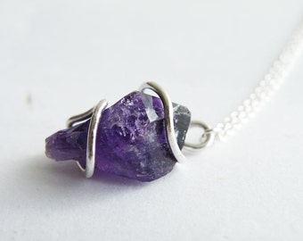 Raw Amethyst Sterling Silver Pendant Necklace Boho Gemstone Jewelry Radiant Orchid Necklace by SteamyLab