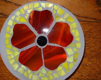 Bright Red Flower Stained Glass Stepping Stone