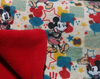 Red, blue and yellow Mickey mouse blanket