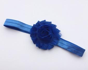 Royal blue shabby flower headband