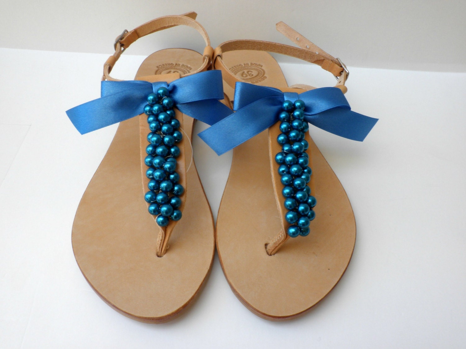 Wedding Blue Pearls Sandals Summer Shoes Greek Leather