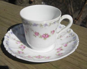 Rose Pattern Demitasse Cup and Saucer