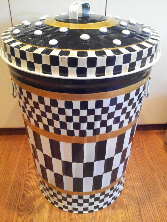 Hand Painted 20 Gallon Galvanized Metal Trash Garbage Storage