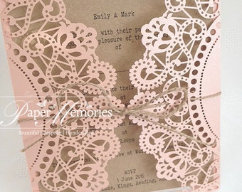 Rustic Laser Cut Doily Floral Wedding Invitation tied with Twine