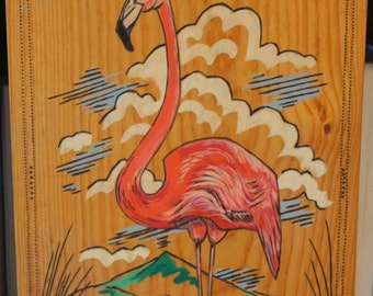 Flamingo Painting on Wood Board