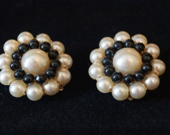 Vintage Black and Pearl Clip On Earrings