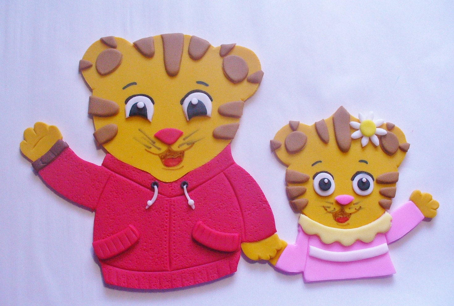 2 Pc Daniel Tiger And Margaret Fondant Cake Topper Decorations