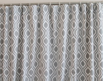 Fabric Shower Curtain 72 Wide Premier Print Nicole Collection 72x672 72x84 72x96 Grey Navy