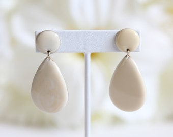 Ivory and Gold Tear Drop Dangle Earrings