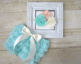 Newborn Photo Outfit...Newborn Girl Photo Prop...Cake Smash Outfit...Baby Lace Bloomers...Peach Ivory Aqua...Spring Baby Outfit...Baby Girl
