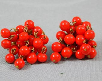 Fresh and Fruity Cherry Red Cha-Cha Shimmy Earrings, Circa 1950s - 1960s