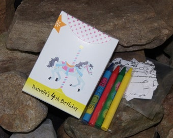 10 Personalized Carousel Party Favors Childrens Coloring Puzzle
