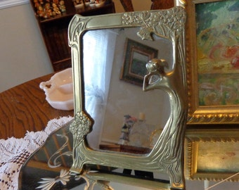 Vintage Brass Mirror Sale  With Lady Looking In  The Mirror/ Vanity  Mirror/ Art Nouveau Mirror