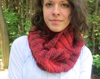 Handknit red and dark grey infinity scarf