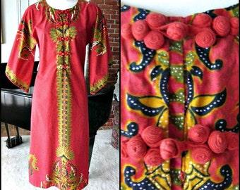 Batik Vintage Caftan / fits S-M / CASAURINA Handmade Thai Batik / Vintage 70s Batik Dress / 70s Batik Caftan