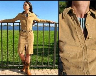 RALPH LAUREN Suede Dress / Ralph Lauren vintage Suede Shirtdress / fits XS / soft tan suede dress
