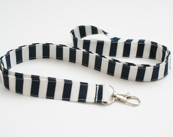 Navy and White Striped Fabric Lanyard with Swivel Clasp - Cute Key Lanyard - Nurse or Teacher Lanyard - 3/4 Inch Wide Key Strap - 19.5 Inch